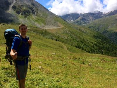 Ben above Gruben, with our camp site and Chalte Berg across the valley