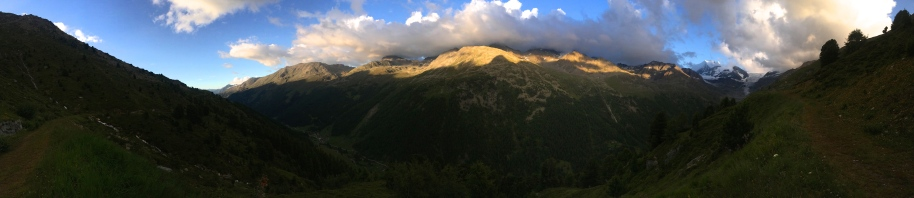 Panorama with the Weisshorn at the valley head.
