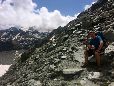 Ben perched on silver shale  - Col de la Chaux