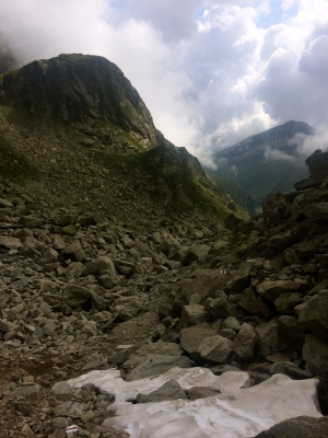 Looking back at the start of the boulder field