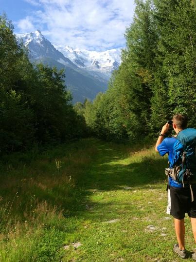 Mont Blanc leading the way through the trees to Chamonix