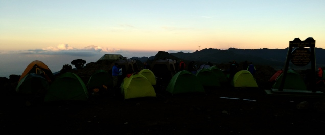 Shira sunrise with Mt. Meru