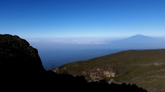 Stunning clear views all morning. Rifts in the jungle below & Mt. Meru