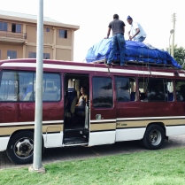 Our bus: gear, porters, food, and all