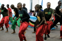 A youth dance crew showing off