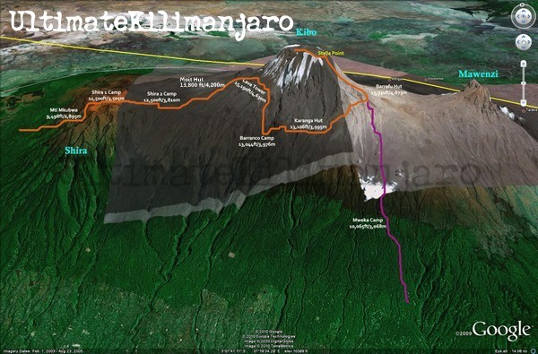 Lemosho Route Map 3D
