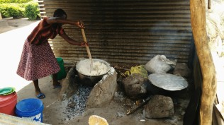 Cooking a huge batch of ugali is a ton of work!